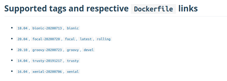 Ubuntu Official image on Docker hub